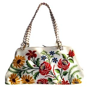 Isabella Fiore Floral and White Leather Bag